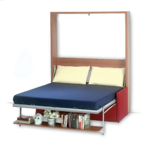 Letto matrimoniale a scomparsa verticale con divano modello Dile.