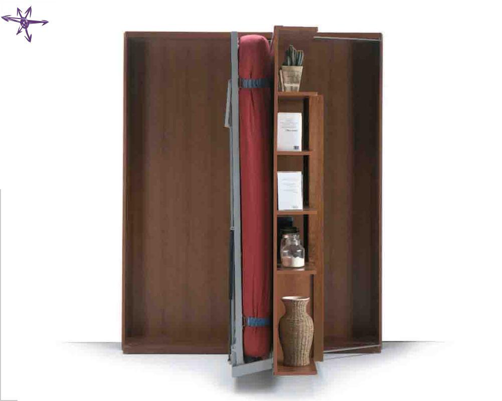 Letto Libreria Girevole : Matrimoniale girevole scomparsa verticale con libreria integrata