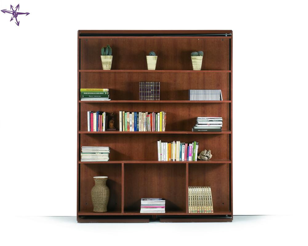 Matrimoniale girevole scomparsa verticale con libreria integrata