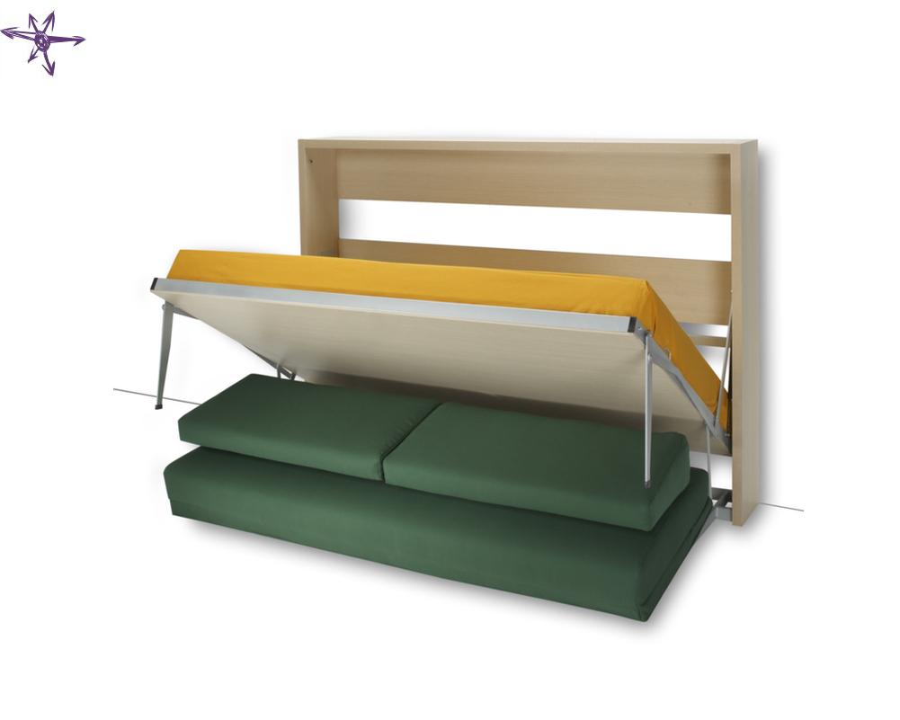 Armadio letto con divano houdini a ribalta orizzontale for Divano letto ribaltabile