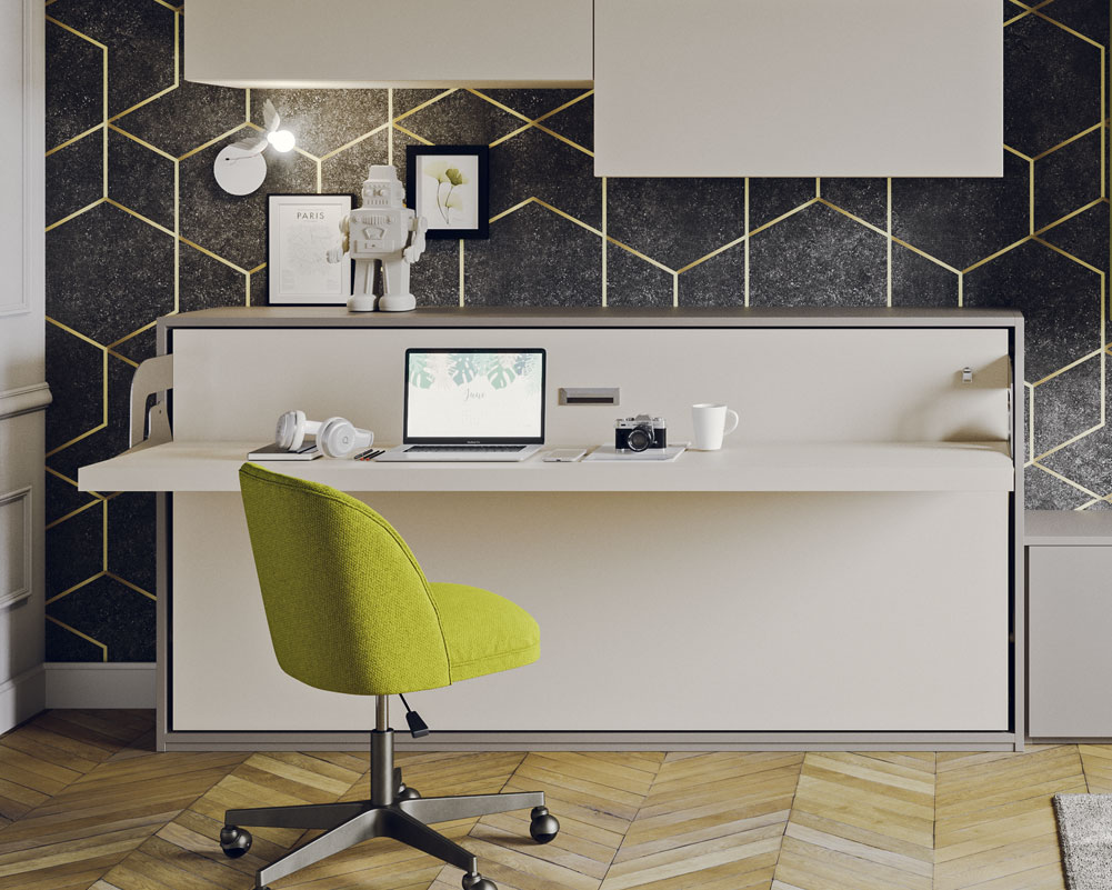 Letto con scrivania a ribalta orizzontale modello Gemini Desk