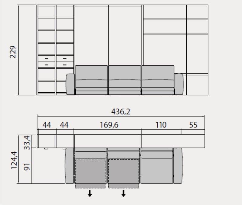 misure del divano con letto