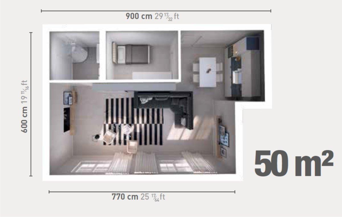 monolocale da 50 metri quadri